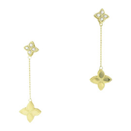Roberto Coin Princess Flower 18K Yellow Gold with 0.09ct Diamond Drop Earrings