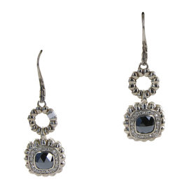 John Hardy Batu Bedeg 925 Sterling Silver with Hematite and 0.42ct Diamond Dangle Earrings