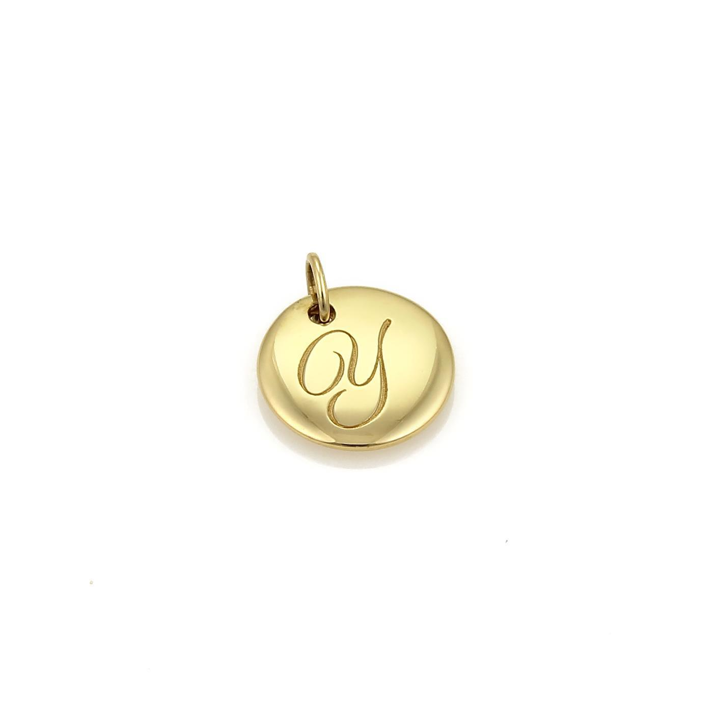 "Image of ""Tiffany & Co. 18K Yellow Gold Letter Y Round Pendant Charm"""