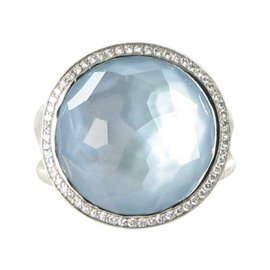 Ippolita Stella Lollipop 925 Sterling Silver with 0.23ct Diamond, Blue Topaz and Mother of Pearl Ring Size 7