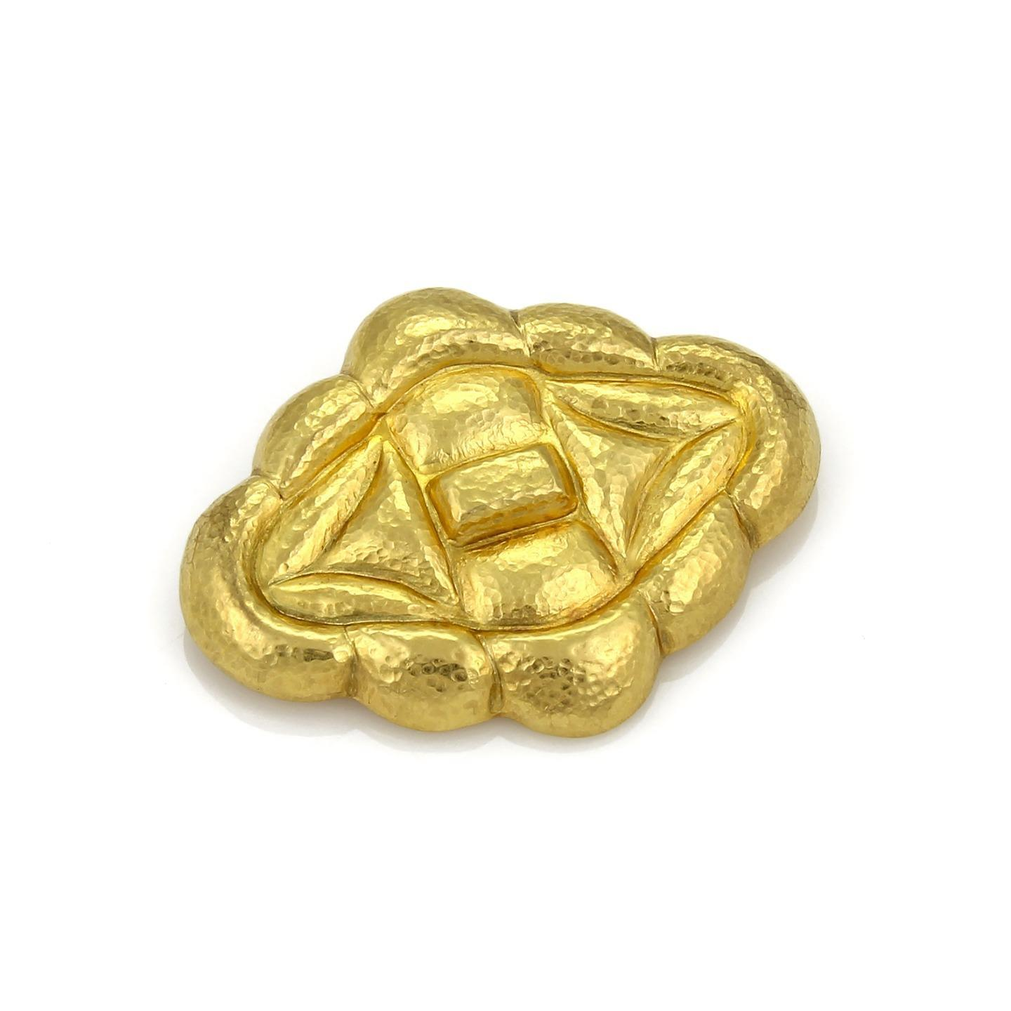 "Image of ""Ilias Lalaounis 18K Yellow Gold Hammered Fancy Brooch/Pendant"""