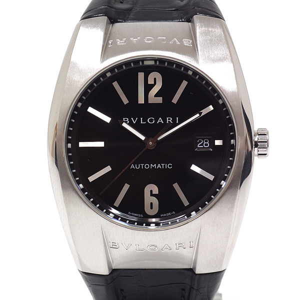 "Image of ""Bulgari Elgon Eg40S Stainless Steel & Leather Black Dial Automatic"""