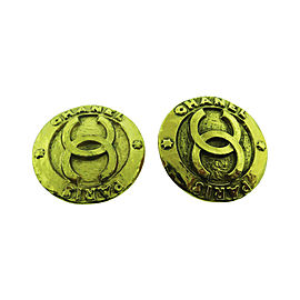 Chanel CC Logos Gold Tone Hardware Button Clip-On Earrings