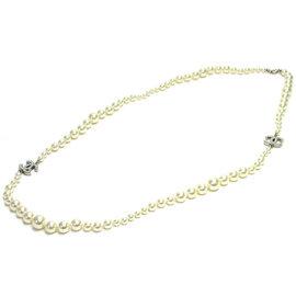 Chanel Silver Tone Hardware & Pearl Coco Mark Necklace