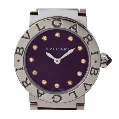 "Image of ""Bulgari Bbl26C7Ss/12 Bbl26C7Ss Stainless Steel Purple Dial Quartz 25mm"""