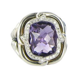 David Yurman Labyrinth 925 Sterling Silver with Amethyst and 0.18ct Diamond Ring Size 6