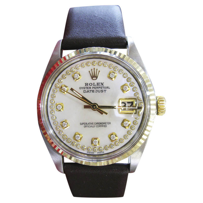 "Image of ""Rolex Datejust Yellow Gold Stainless Steel Mother of Pearl Diamond"""