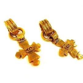 Chanel Coco Mark Gold Tone Hardware Cross Earrings