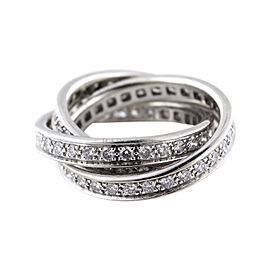 Cartier Trinity De 18K White Gold with 1.55ct Diamond Ring Size 4.75