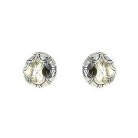 John Hardy Naga 925 Sterling Silver & 18K Yellow Gold Button Earrings
