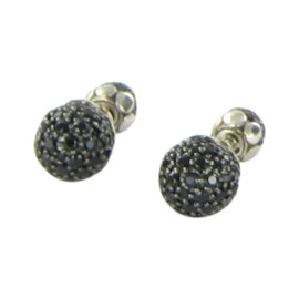 John Hardy Dot 925 Sterling Silver & Black Sapphire Lava Stud Earrings