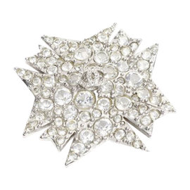 Chanel Silver Tone Hardware Rhinestone Pin Brooch