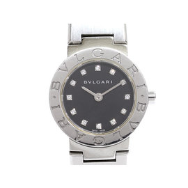 Bulgari Bvlgari BB23SS Stainless Steel Black Diamond Dial Quartz 23mm Womens Watch