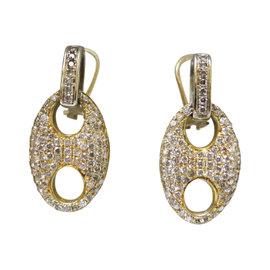 14K Yellow Gold Pave Diamond Earrings