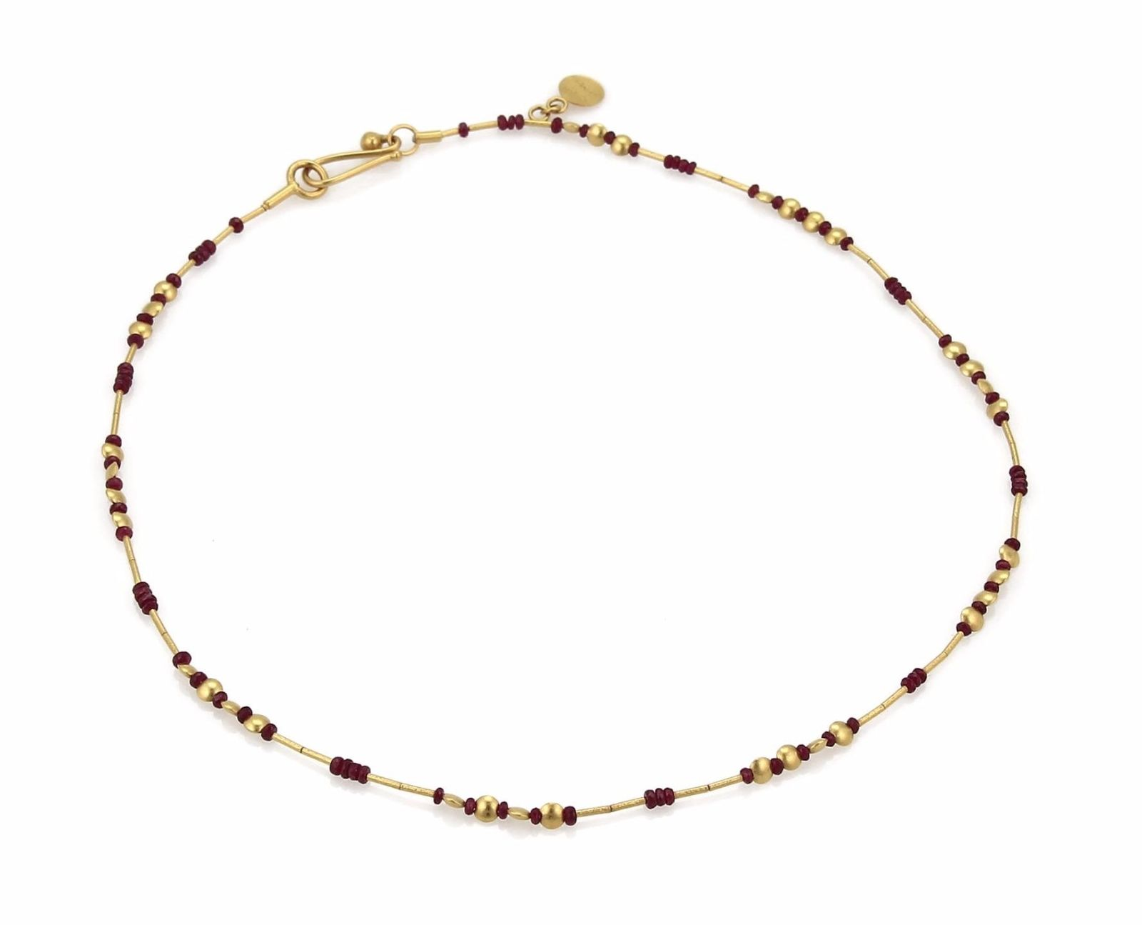 "Image of ""Gurhan 18K Yellow Gold with Ruby Bead & Tube Link Necklace"""