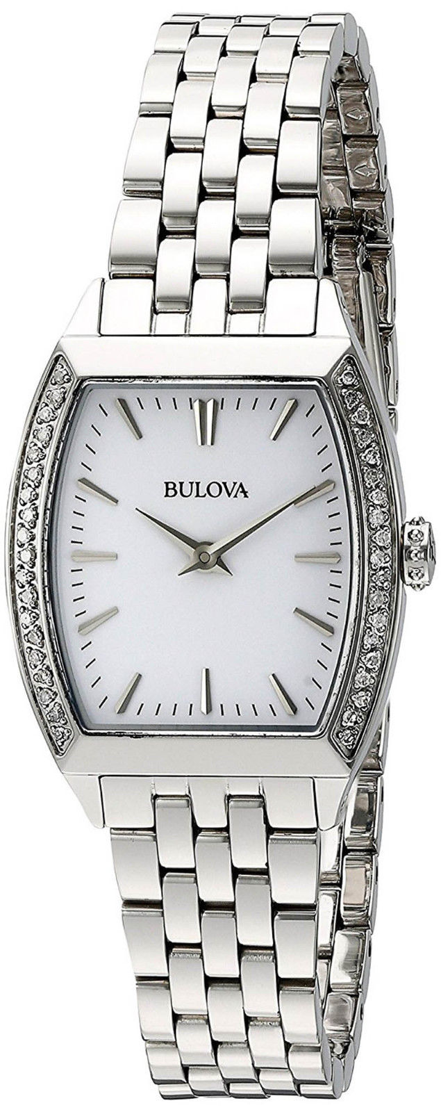 "Image of ""Bulova 96R196 Stainless Steel Diamond Accent White Dial 26mm Womens"""