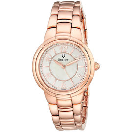 Bulova 97L132 Mother of Pearl Dial Rose Gold Tone Stainless Steel 35mm Womens Watch