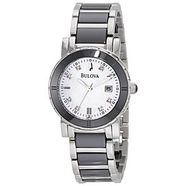 Bulova 98P122 Diamond Mother Of Pearl Dial Ceramic and Stainless Steel 30mm Womens Watch