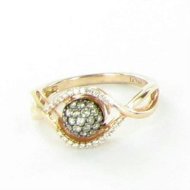 Le Vian Chocolatier 14K Rose Gold & 0.32ct. Chocolate/Vanilla Diamond Ring Size 7