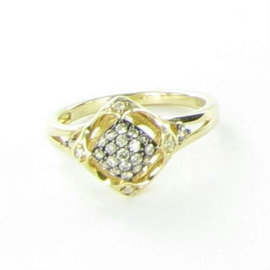 Le Vian Petite Chocolatier 14K Yellow Gold & 0.27ct. Diamond Cluster Ring Size 7
