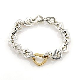 Tiffany & Co. 925 Sterling Silver & 18K Yellow Gold Heart Link Bracelet