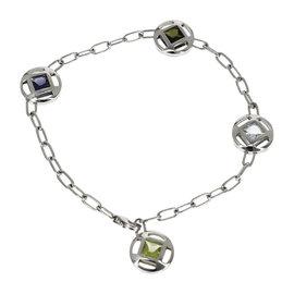 Cartier Pasha 18k White Gold Aquamarine Peridot Iolite Tourmaline Bracelet