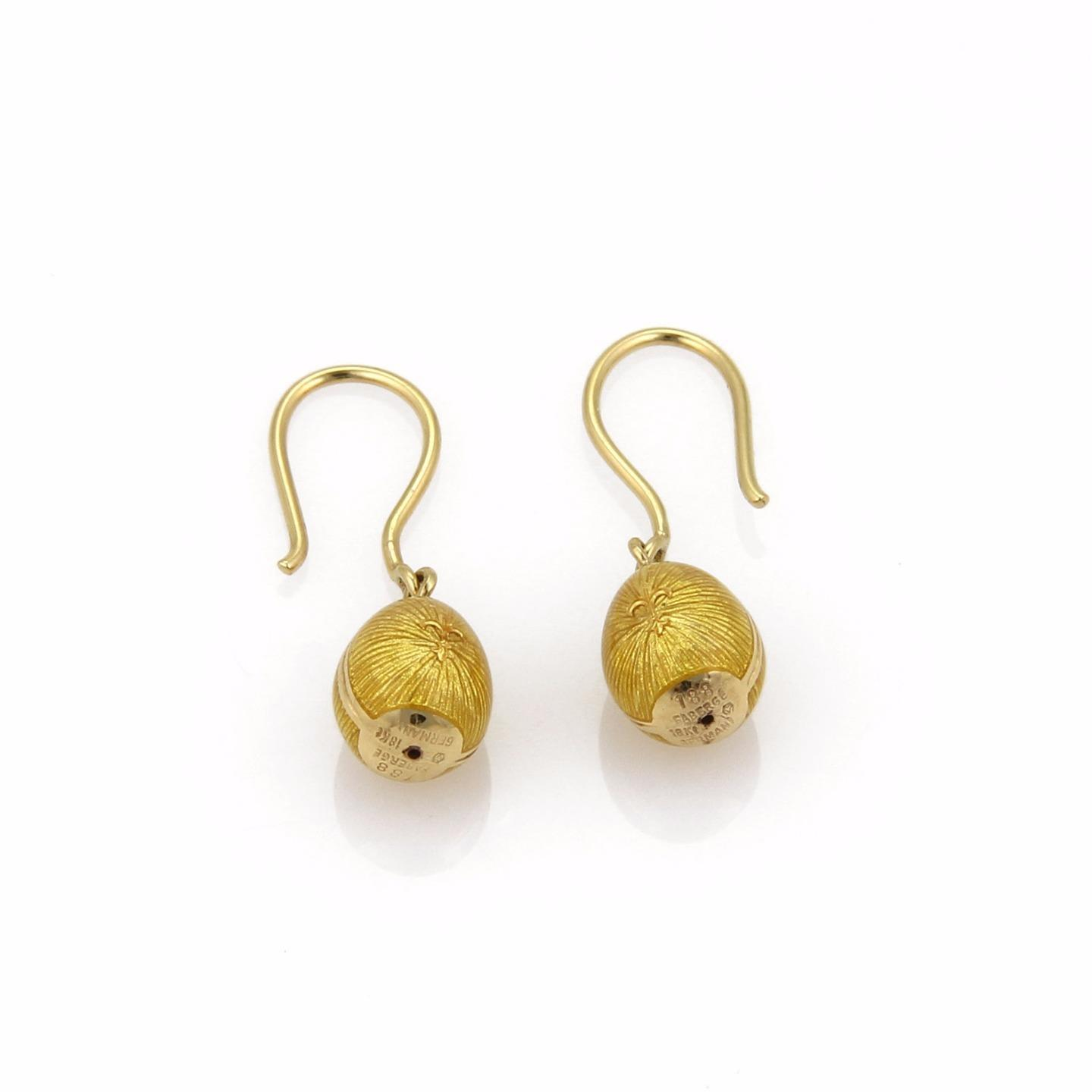 "Image of ""Faberge 18K Yellow Gold with Enamel Guilloche Hook Dangle Earrings"""