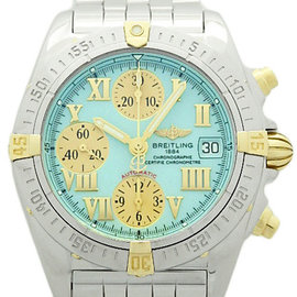 Breitling Chrono Cockpit B13358 Stainless Steel & 18k Yellow Gold Light Blue Auto 39mm Mens Watch