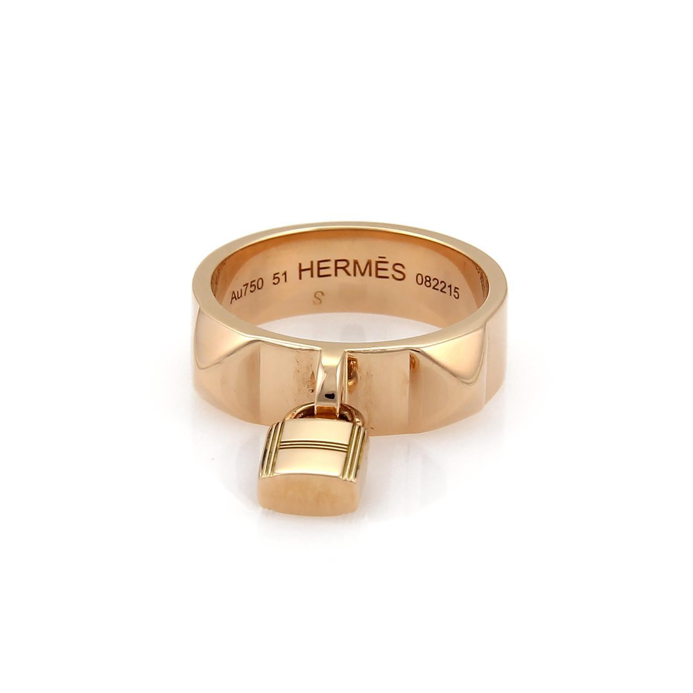 "Image of ""Hermes 18K Rose Gold Wide Padlock Charm Band Ring Size 5.5"""