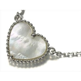 Van Cleef & Arpels 18k White Gold Mother of Pearl Alhambra Necklace
