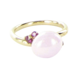 Pomellato Capri 18K Rose Gold with Pink Ceramic and Ruby Ring Size 6.5