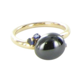 Pomellato Capri 18K Rose Gold with Black Ceramic and Sapphires Ring Size 6.5