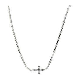 David Yurman 925 Sterling Silver with Diamond Cross Necklace