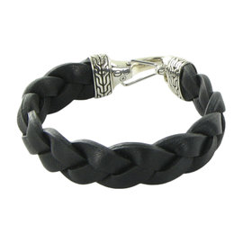 John Hardy Classic Chain 925 Sterling Silver and Leather Braided Hook Bracelet
