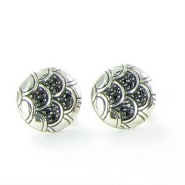 John Hardy Legends Naga 925 Sterling Silver and Black Sapphires Button Earrings