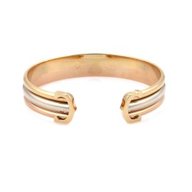 Cartier Double C 18K Yellow, Rose and White Gold Cuff Bracelet