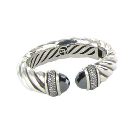 David Yurman Waverly 925 Sterling Silver & 1.19ct. Diamond & Hematite Bracelet Cuff