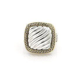 David Yurman Albion Sterling Silver & 18K Yellow Gold 0.40ct. Diamond Cable Ring Size 5