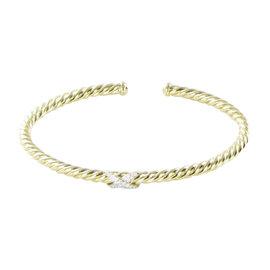 David Yurman 18K Yellow Gold with 0.15cts Diamond X Cable Bangle Bracelet 6.5