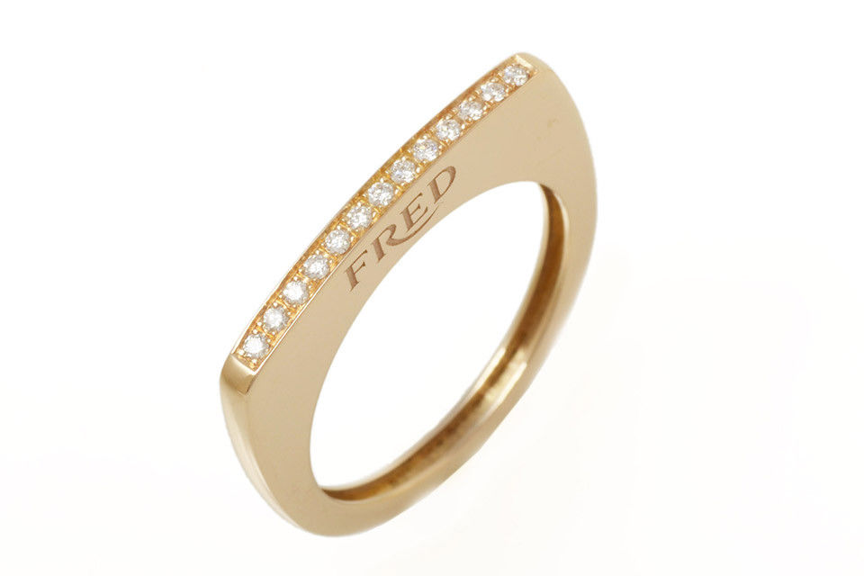 "Image of ""Fred of Paris 18k Rose Gold Diamond Ring Size 7"""
