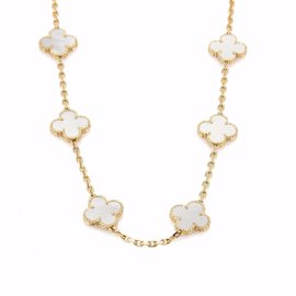 Van Cleef & Arpels Vintage Alhambra 18K Yellow Gold & Mother of Pearl Necklace