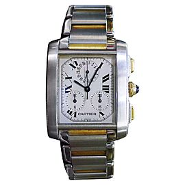 Cartier Tank Francaise 2303 18K Yellow Gold Stainless Steel Quartz Vintage 28mm Mens Watch