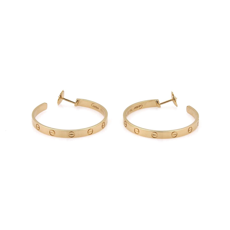 "Image of ""Cartier Love 18K Yellow Gold Screw Motif Large Hoop Earrings"""