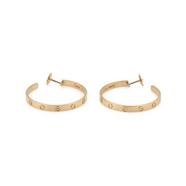 Cartier Love 18K Yellow Gold Screw Motif Large Hoop Earrings