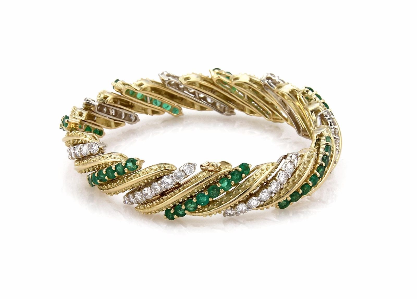 "Image of ""Hammerman Brothers 18K White & Yellow Gold 13ct Diamond & Emerald Long"""