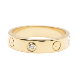 Cartier Mini Love 18k Yellow Gold with 1P Diamond Ring Size 5.25