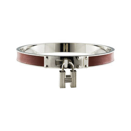Hermes Leather & Silver Tone Hardware Cadena Bangle Bracelet