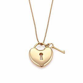 Tiffany & Co. 18K Rose Gold Heart Padlock & Key Pendant Bead Chain Necklace
