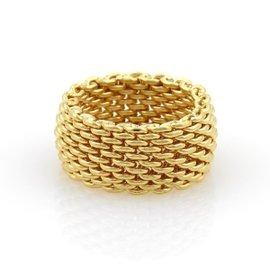 Tiffany & Co. Somerset 18K Yellow Gold Wide Mesh Band Ring Size 7