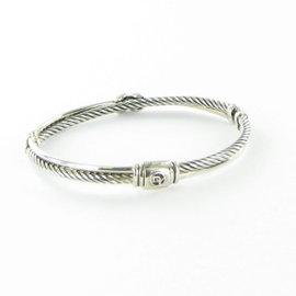 David Yurman X Cable 925 Sterling Silver 0.129ct Diamond Bracelet
